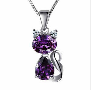 Fine Lovely Cat Natural Amethyst Female 925 Sterling Silver Pendant