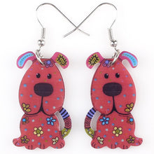 Drop Dog Earrings Long Dangle Earring Acrylic Animal Pattern Fashion Jewelry