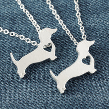 Beautiful Dachshund Dog Matte Silver Necklace