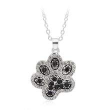 Lovely Paw Claw of Kitty Cat Lovely Pendant Necklace Black White Crystal Rhinestone