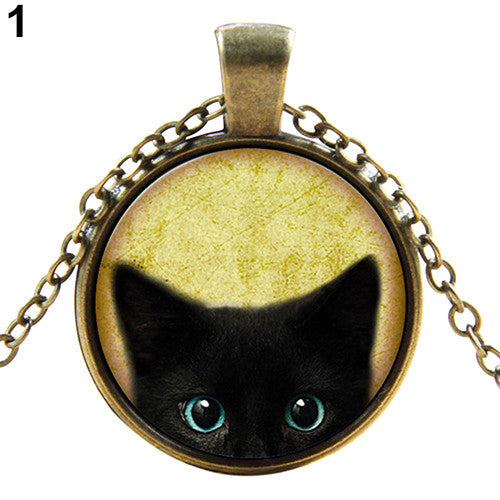 Black Cat Pattern Glass Gem Pendant Necklace