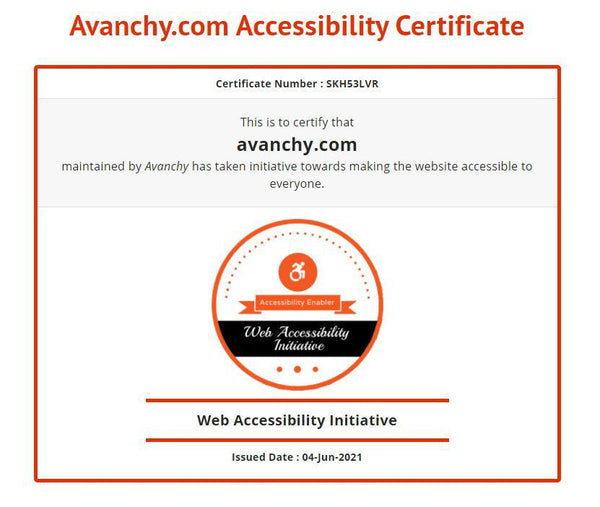 Avanchy Accessibility Certificate