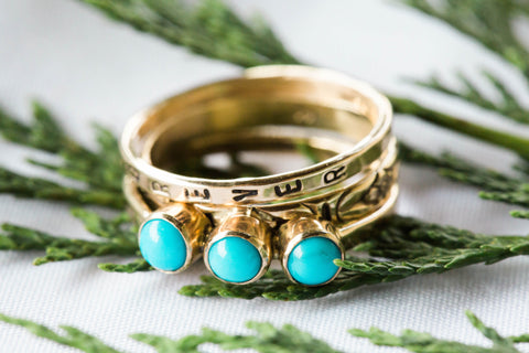 Floral Triple Turquoise and Gold Personalized Ring