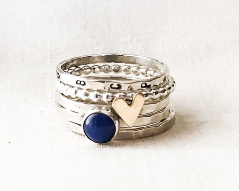 Lapis Lazuli and Love Ring // Personalized Stacking Ring in Sterling Silver, Brass, and Lapis Lazuli