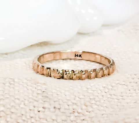 Beaded Gold Ring // Solid 14k Gold