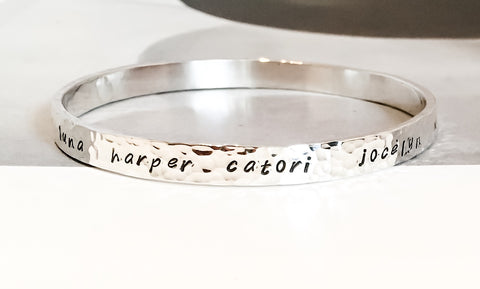 Personalized Custom Silver Bangle Bracelet // Sterling Silver