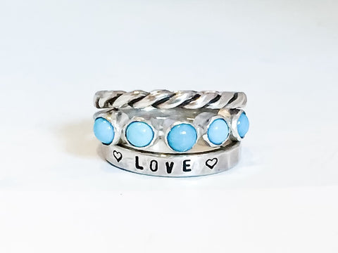 Aether Ring in Sleeping Beauty Turquoise, and Sterling Silver // Personalized