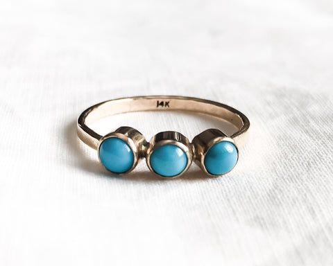Ready to Ship in Size 7 // Triple Turquoise and Gold Ring // Solid 14k Gold and Sleeping Beauty Turquiose