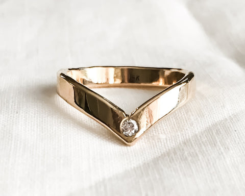 Ready to Ship in Size 6 // Chevron Diamond Ring // Solid 14k Gold and Diamond Ring