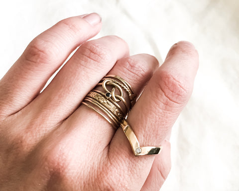 Ready To Ship In Size 6 Chevron Diamond Ring Solid 14k Gold