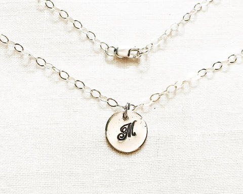 Script Monogram Necklace // One Initial // Sterling Silver