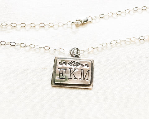 Triple Monogram Tag Necklace // Sterling Silver