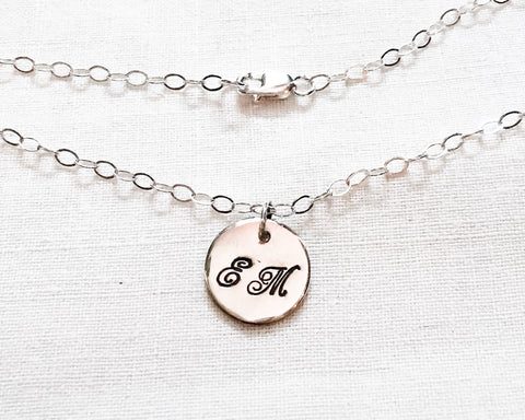 Script Monogram Necklace // Two Initials // Sterling Silver