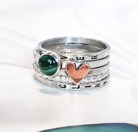 Green & Heart // Personalized Stacking Ring in Sterling Silver and Malachite