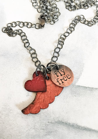 Fly Free Charm Necklace in Enamel and Mixed Metals