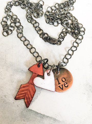 LOVE and Arrow Charm Necklace in Enamel and Mixed Metals