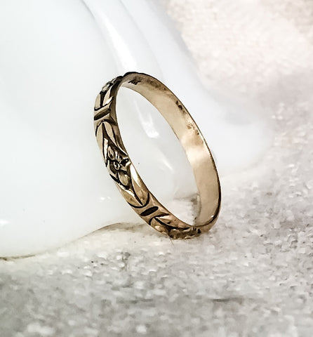 Floral Gold Ring // Solid 14k Gold