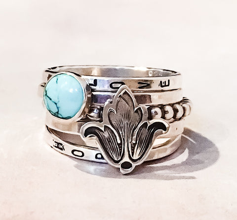 Fleur De Lis and Turquoise Ring // Personalized // Sterling Silver