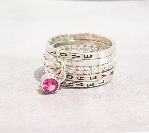 Stacking Birthstone Charm Ring Set // Choose Your Own Birthstone