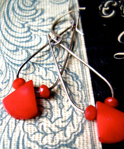 Maraschino Red Long Teardrop Earrings in Coral, Glass, and Sterling Silver