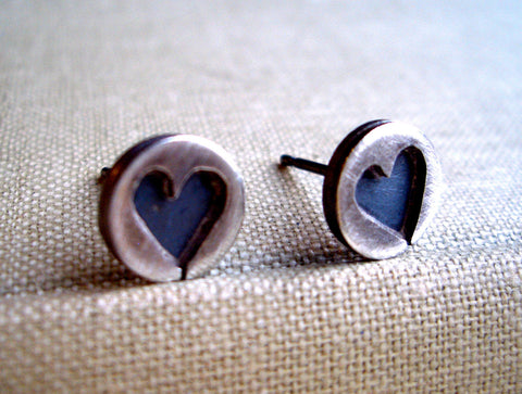 Sweetheart Keepsake Heart Earrings in Sterling Silver