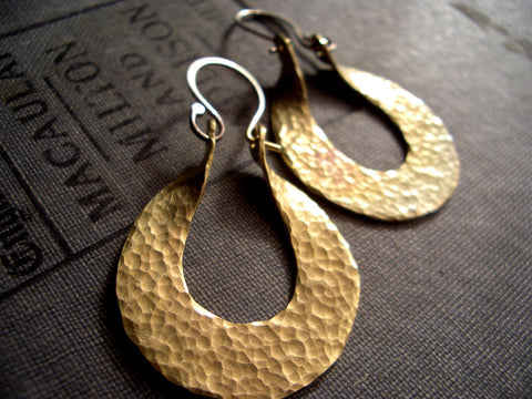 Small Isis Hoops in Hammered Brass