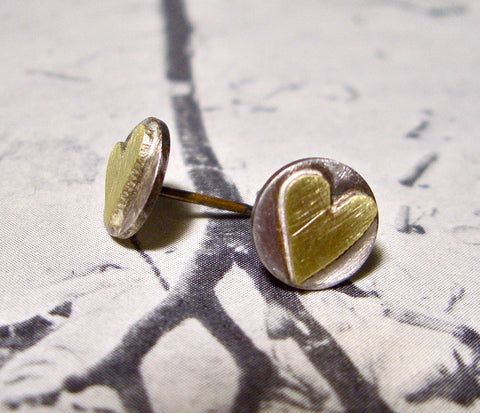 Love Is Golden Heart Posts in Sterling Silver and Brass