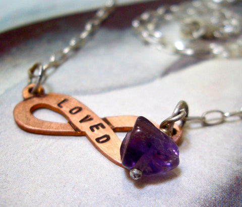 Infinity Banner Necklace // Personalized in Sterling Silver, Copper and Amethyst