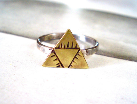Triad Ring // Sterling Silver & Brass