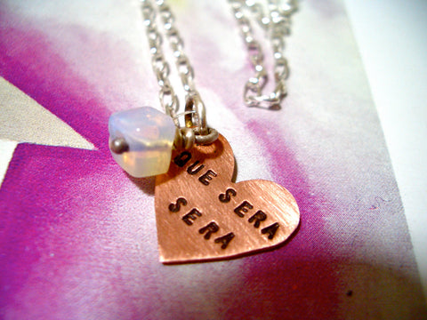 Personalized Copper Heart Charm Necklace with Moonstone and Sterling Silver