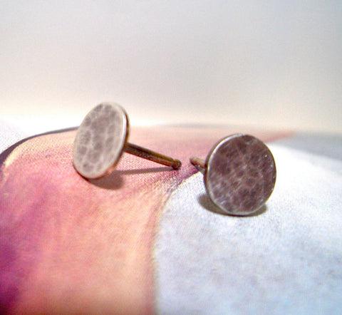 Sterling Silver Studs:  Hammered Dot