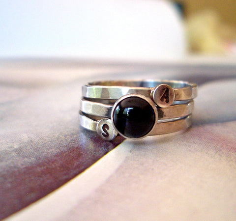 Onyx and Initial Rings // Personalized Stacking Ring in Sterling Silver, Brass, and Onyx