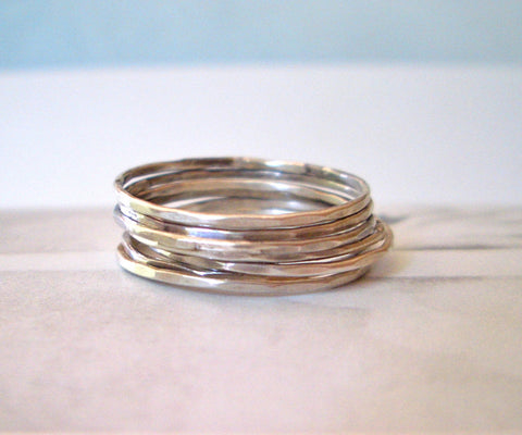 Tiniest Collection of Seven Silver Rings // Sterling SIlver