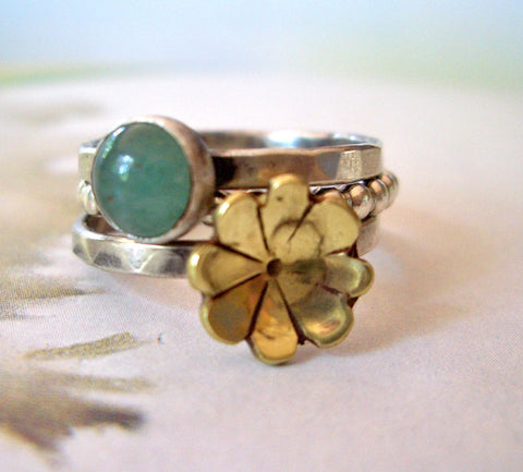 Golden Fleurette and Aventurine Ring // Stacking Ring in Sterling Silver, Brass, and Aventurine