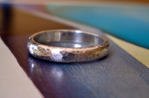 Everyday Dimpled Band in Sterling Silver