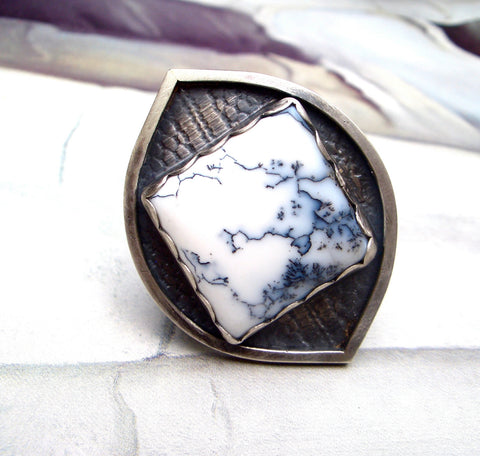 Snow and Lace Ring in Natural Moss Opalite and Sterling Silver // Ready to ship in size 6 3/4