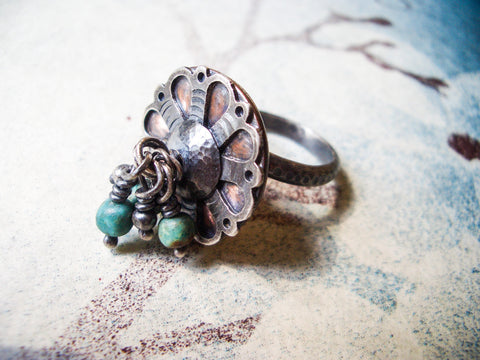 Mandala Charm Ring in Sterling Silver, Copper, and Turquoise // Ready to ship in size 7