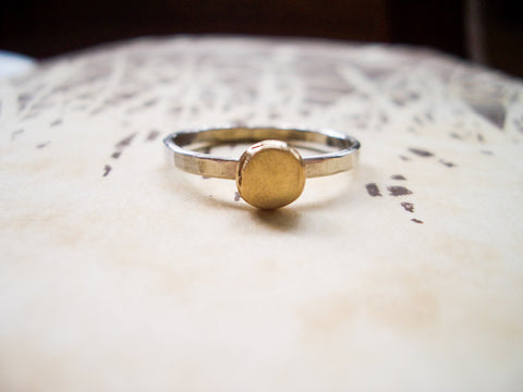 Golden Drop Ring in Sterling Silver and Brass