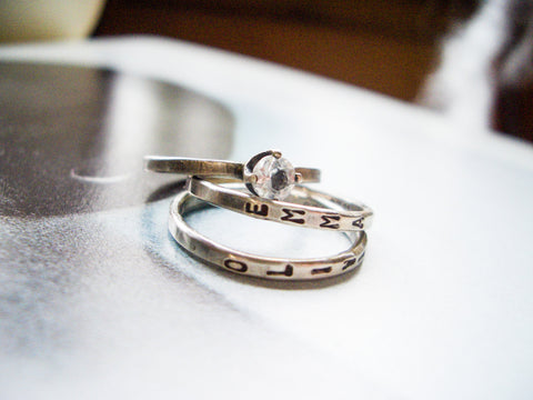 Sparkle Stacking Ring // Personalized in Sterling Silver and White Topaz
