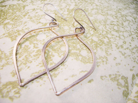 Hanging Petal Hoop Earrings // Sterling Silver