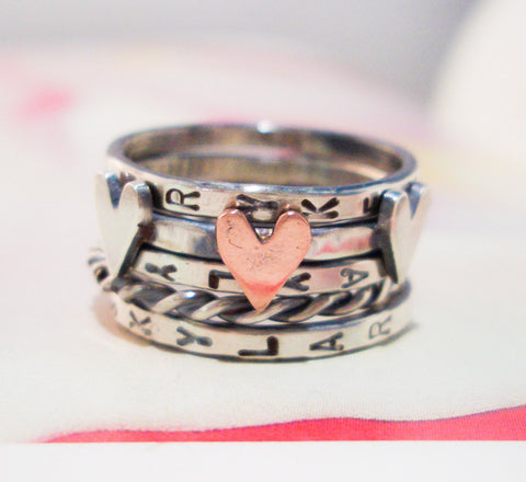 Love is Divine Stacking Ring // Personalized in Sterling Silver and Copper