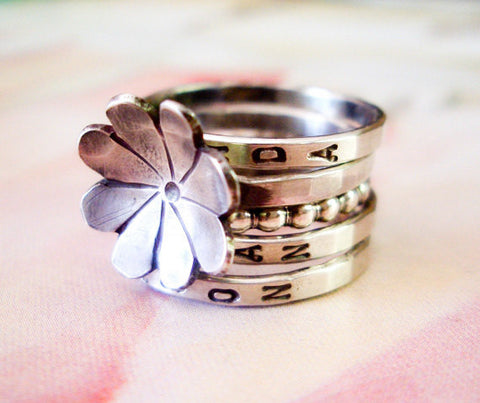 Fleurette Ring // Personalized Stacking Ring in Sterling Silver