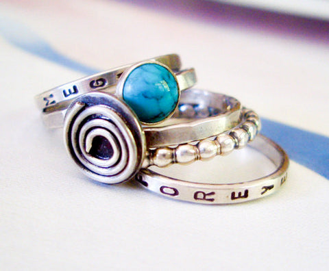 Spiral and Turquoise Ring // Personalized Stacking Ring in Sterling Silver
