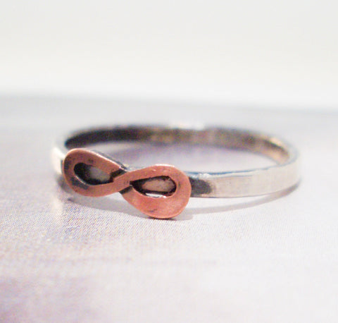 Infinity and Forever Ring in Sterling Silver and Copper