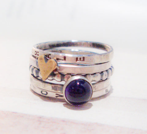 Love Is Royal // Personalized Stacking Ring in Sterling Silver, Brass and Amethyst