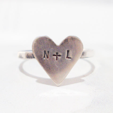 Big Silver Heart Ring // Personalized in Sterling Silver