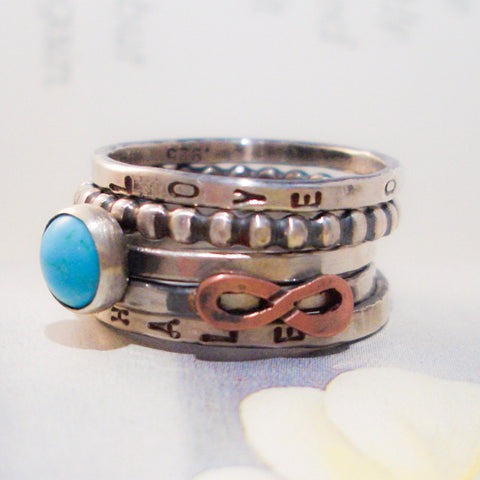 Infinite Blue // Personalized Stacking Infinity Ring in Sterling Silver, Copper and Turquoise
