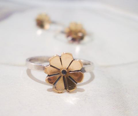 Golden Fleurette Ring // Stacking Ring in Sterling Silver, Brass, and Aventurine