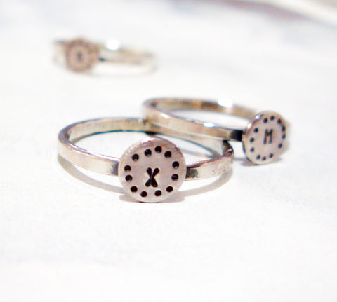 Circles Monogram Ring // Personalized in Sterling SIlver