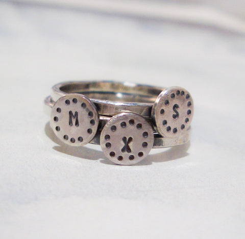 Circles Monogram Ring Set  // Personalized Stacking Ring in Sterling Silver